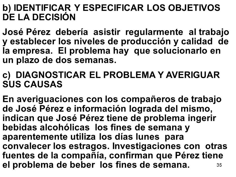 35 b) IDENTIFICAR Y ESPECIFICAR LOS OBJETIVOS DE LA DECISIÓN José Pérez debería asistir regularmente al trabajo y establecer los niveles de producción