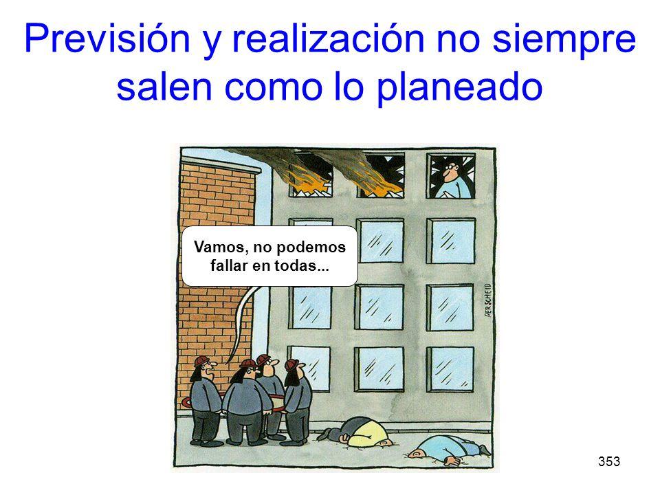 353 Previsión y realización no siempre salen como lo planeado Come on! It cant go wrong every time... Vamos, no podemos fallar en todas...