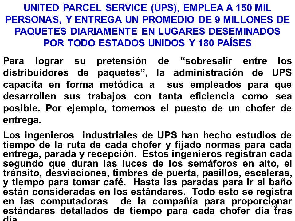 44 UNITED PARCEL SERVICE (UPS), EMPLEA A 150 MIL PERSONAS, Y ENTREGA UN PROMEDIO DE 9 MILLONES DE PAQUETES DIARIAMENTE EN LUGARES DESEMINADOS POR TODO