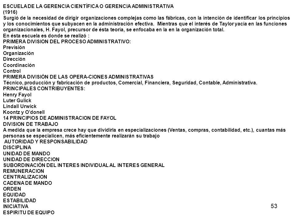 53 ESCUELA DE LA GERENCIA CIENTÍFICA O GERENCIA ADMINISTRATIVA (1916) Surgió de la necesidad de dirigir organizaciones complejas como las fábricas, co