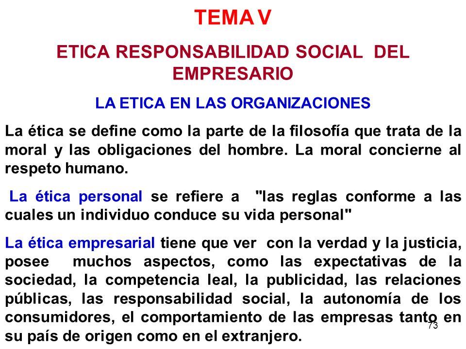 73 TEMA V ETICA RESPONSABILIDAD SOCIAL DEL EMPRESARIO LA ETICA EN LAS ORGANIZACIONES La ética se define como la parte de la filosofía que trata de la