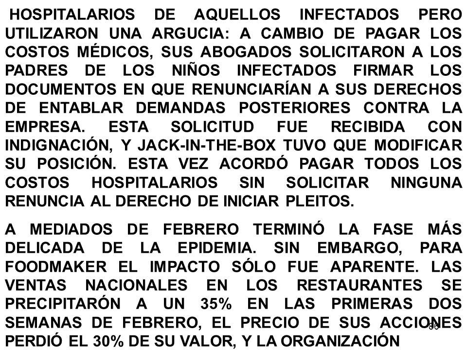 86 HOSPITALARIOS DE AQUELLOS INFECTADOS PERO UTILIZARON UNA ARGUCIA: A CAMBIO DE PAGAR LOS COSTOS MÉDICOS, SUS ABOGADOS SOLICITARON A LOS PADRES DE LO