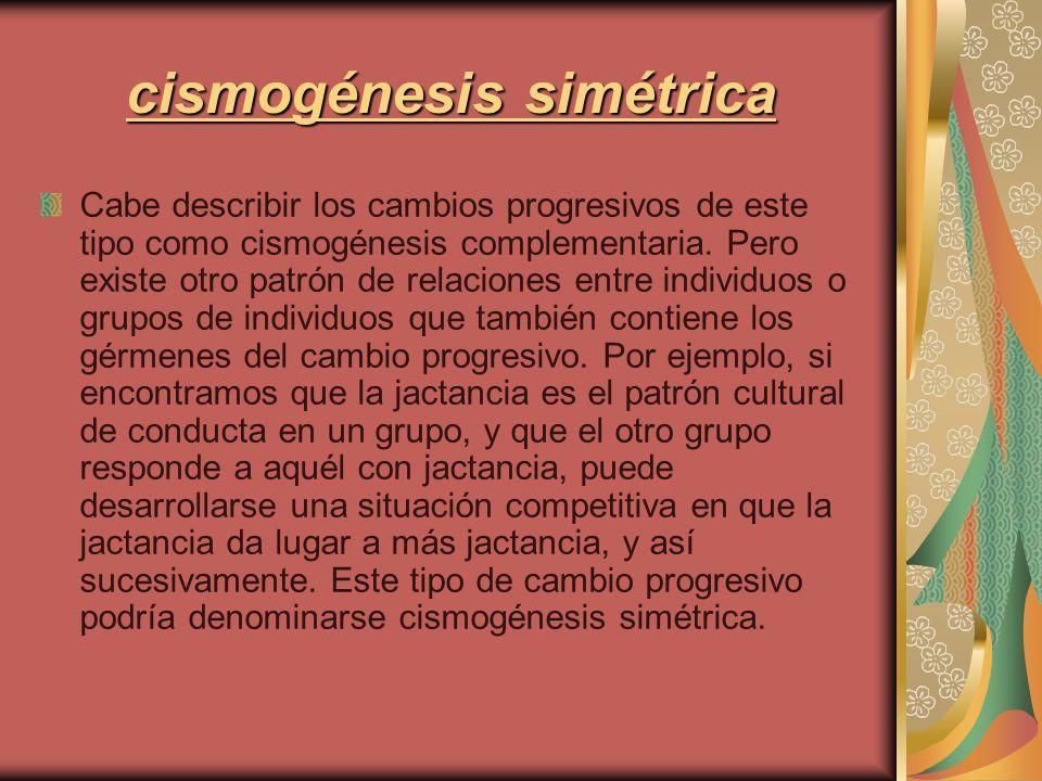 cismogénesis simétrica Cabe describir los cambios progresivos de este tipo como cismogénesis complementaria. Pero existe otro patrón de relaciones ent
