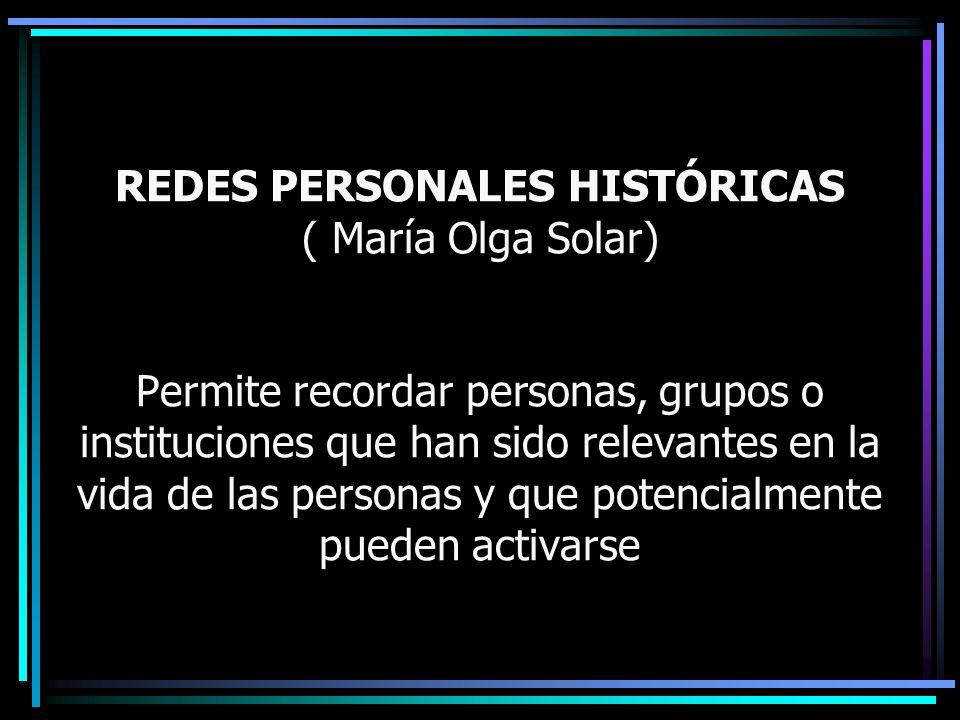REDES PERSONALES HISTÓRICAS ( María Olga Solar) Permite recordar personas, grupos o instituciones que han sido relevantes en la vida de las personas y