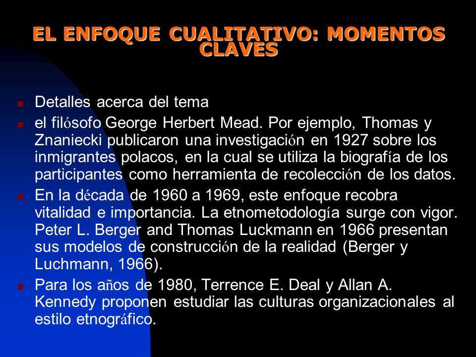 EL ENFOQUE CUALITATIVO: MOMENTOS CLAVES Detalles acerca del tema el fil ó sofo George Herbert Mead. Por ejemplo, Thomas y Znaniecki publicaron una inv