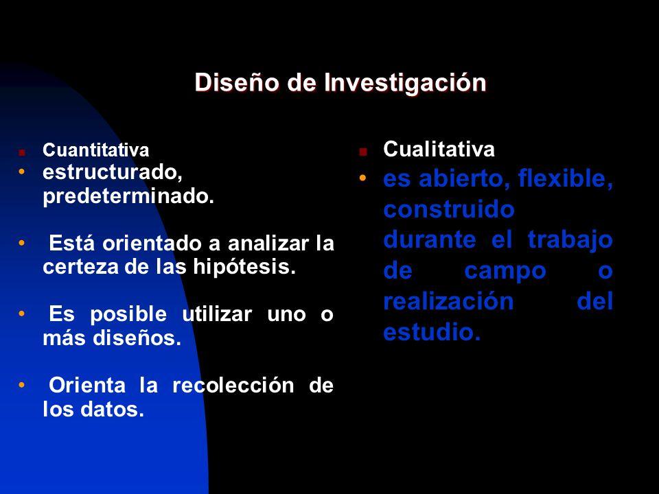 Diseño de Investigación Cuantitativa estructurado, predeterminado. Está orientado a analizar la certeza de las hipótesis. Es posible utilizar uno o má