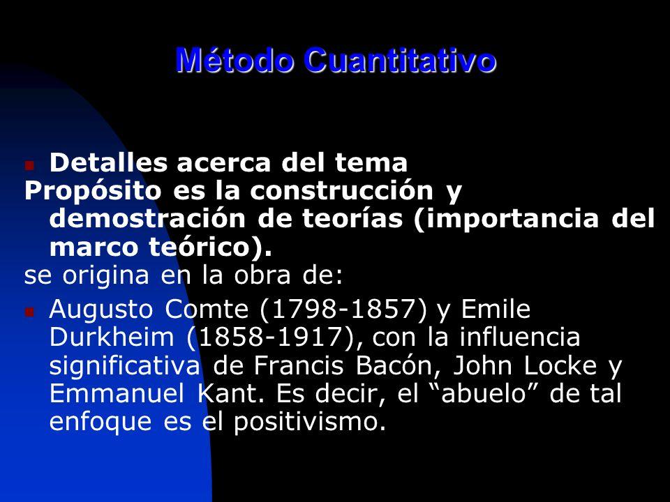 Método Cuantitativo Detalles acerca del tema Propósito es la construcción y demostración de teorías (importancia del marco teórico). se origina en la