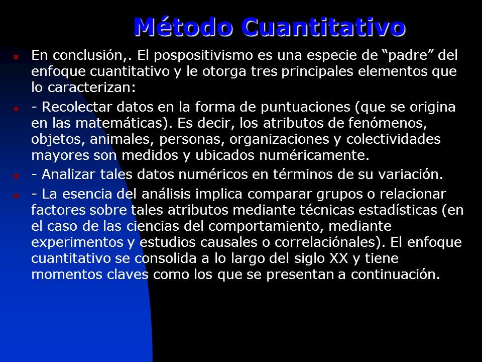 Método Cuantitativo En conclusión,. El pospositivismo es una especie de padre del enfoque cuantitativo y le otorga tres principales elementos que lo c