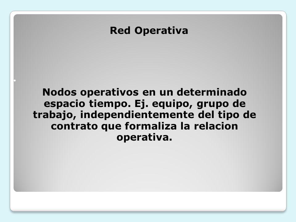Nodos operativos en un determinado espacio tiempo. Ej. equipo, grupo de trabajo, independientemente del tipo de contrato que formaliza la relacion ope