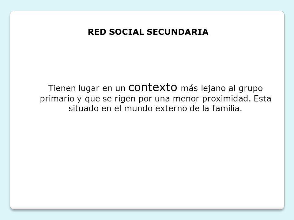 RED SOCIAL SECUNDARIA Tienen lugar en un contexto más lejano al grupo primario y que se rigen por una menor proximidad. Esta situado en el mundo exter