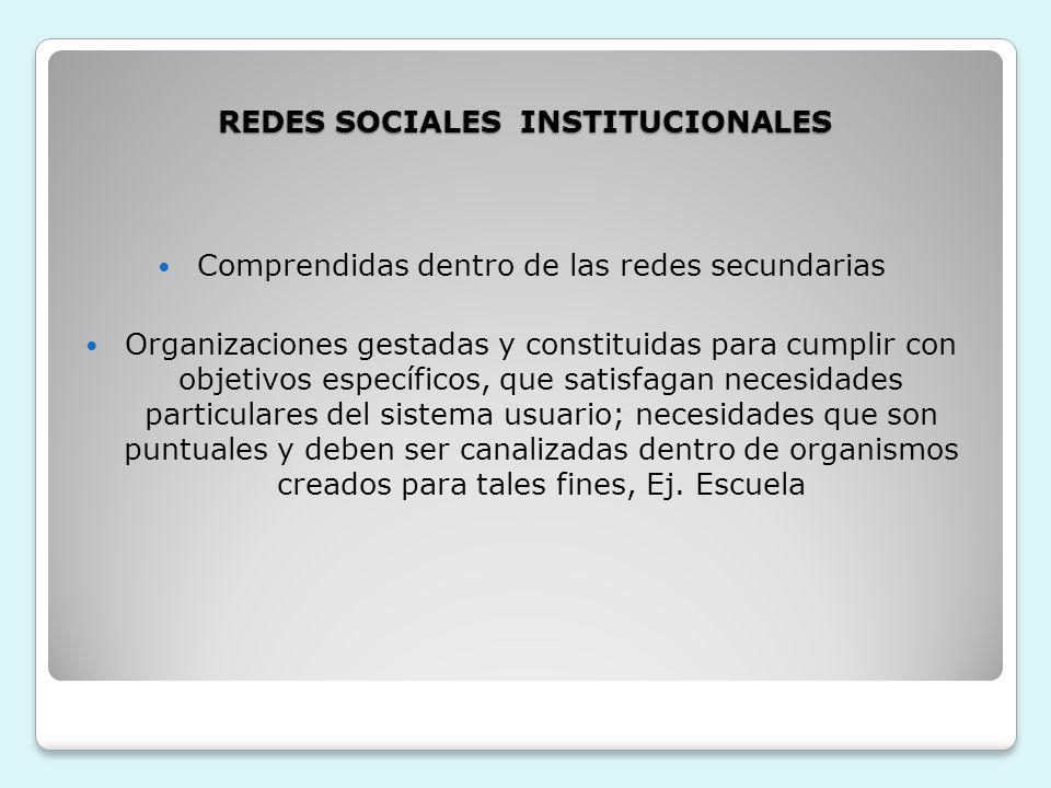 REDES SOCIALES INSTITUCIONALES Comprendidas dentro de las redes secundarias Organizaciones gestadas y constituidas para cumplir con objetivos específi