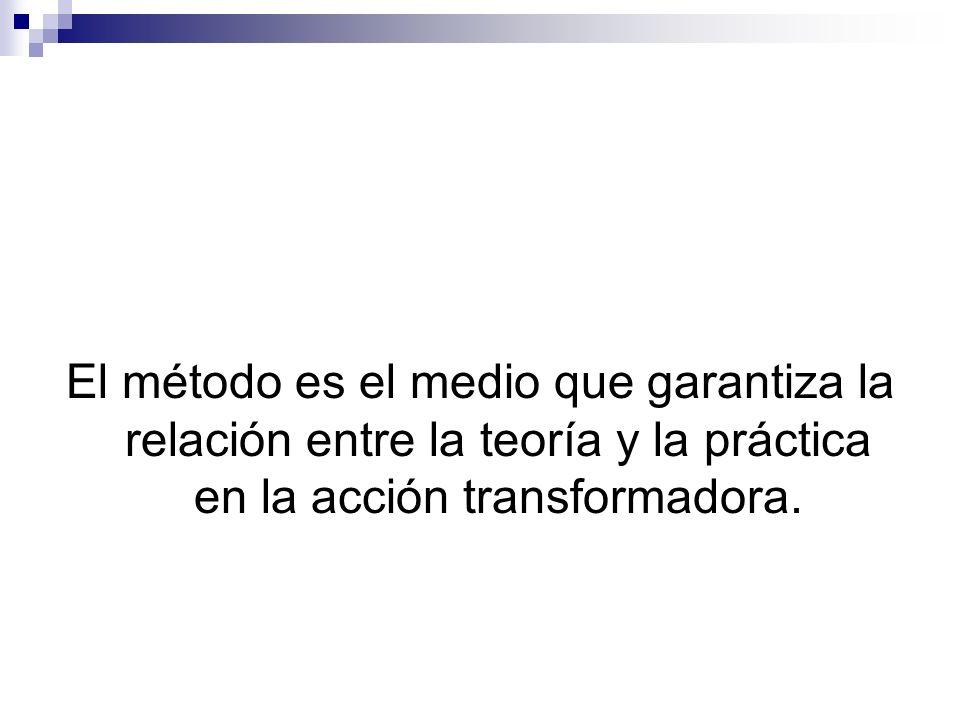 El método es el medio que garantiza la relación entre la teoría y la práctica en la acción transformadora.