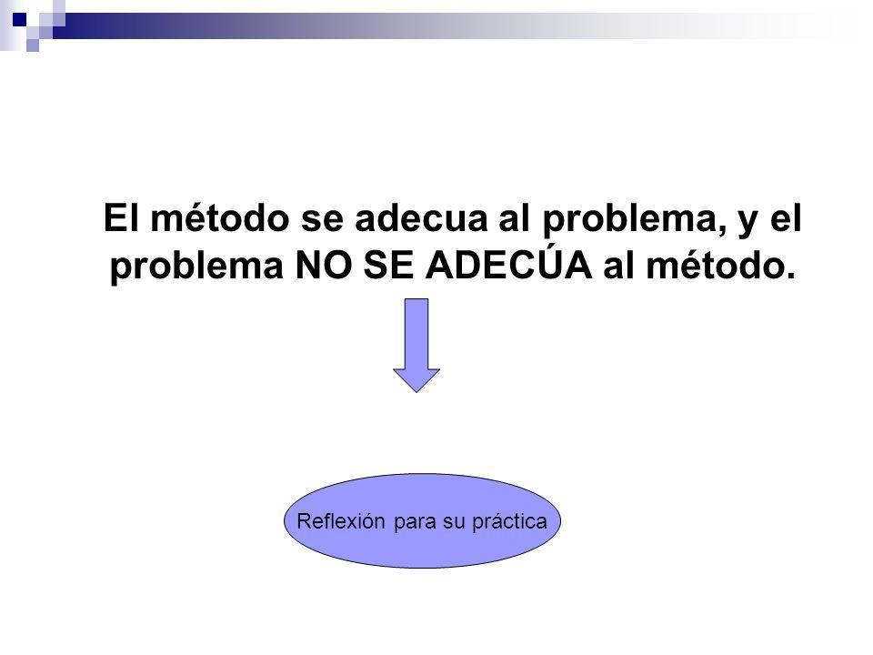 El método se adecua al problema, y el problema NO SE ADECÚA al método. Reflexión para su práctica