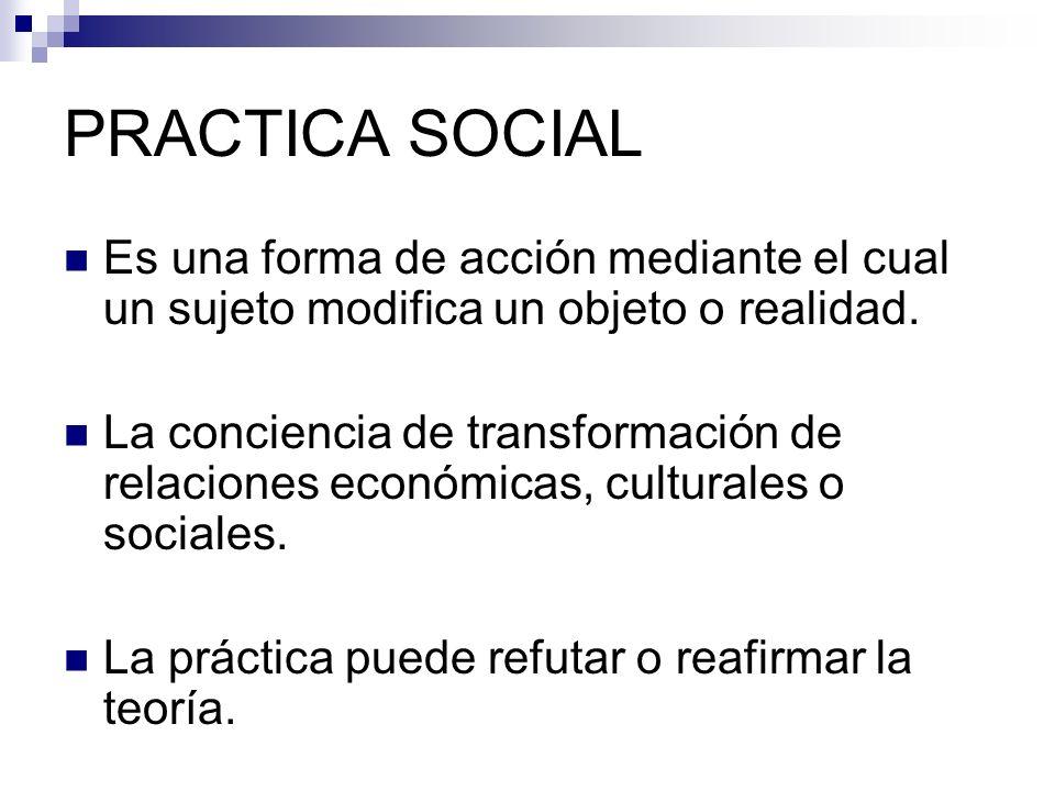 PRACTICA SOCIAL Es una forma de acción mediante el cual un sujeto modifica un objeto o realidad. La conciencia de transformación de relaciones económi