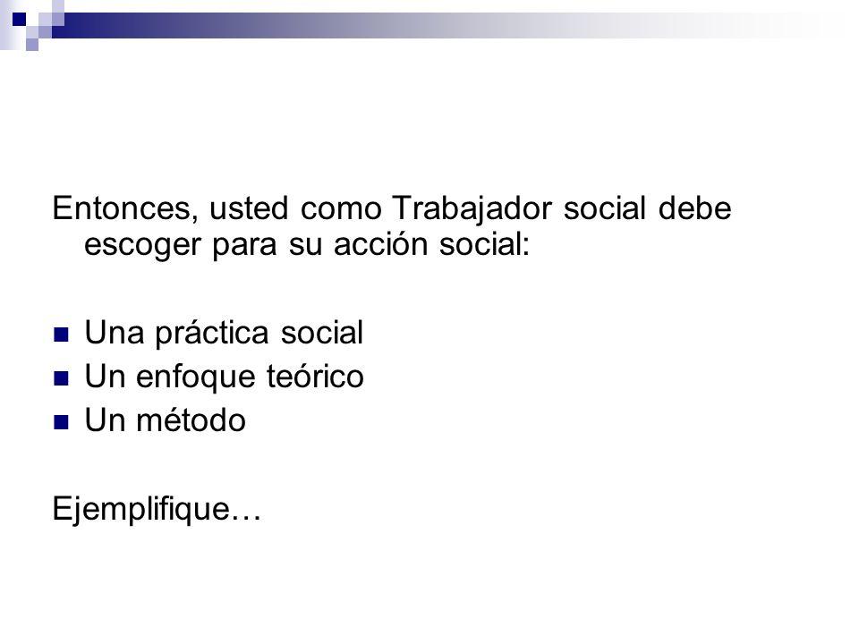 Entonces, usted como Trabajador social debe escoger para su acción social: Una práctica social Un enfoque teórico Un método Ejemplifique…