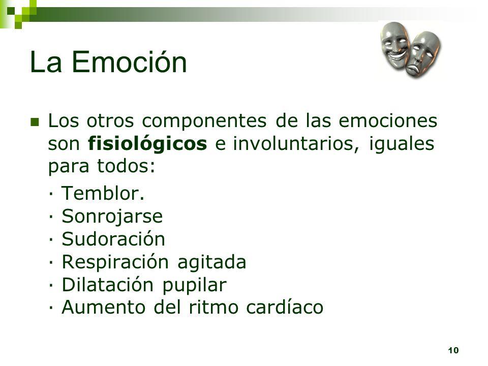 10 La Emoción Los otros componentes de las emociones son fisiológicos e involuntarios, iguales para todos: · Temblor. · Sonrojarse · Sudoración · Resp