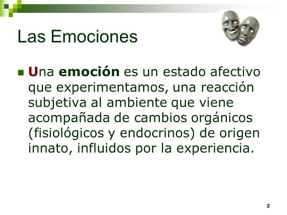 2 Las Emociones Una emoción es un estado afectivo que experimentamos, una reacción subjetiva al ambiente que viene acompañada de cambios orgánicos (fi