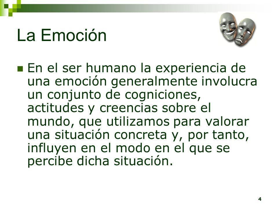 4 La Emoción En el ser humano la experiencia de una emoción generalmente involucra un conjunto de cogniciones, actitudes y creencias sobre el mundo, q