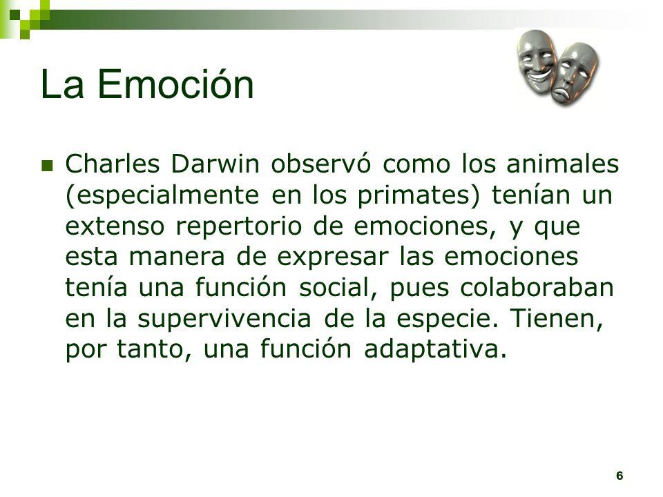 6 La Emoción Charles Darwin observó como los animales (especialmente en los primates) tenían un extenso repertorio de emociones, y que esta manera de