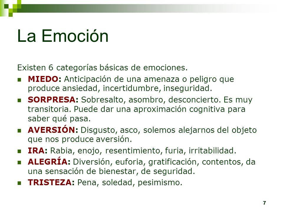 7 La Emoción Existen 6 categorías básicas de emociones. MIEDO: Anticipación de una amenaza o peligro que produce ansiedad, incertidumbre, inseguridad.