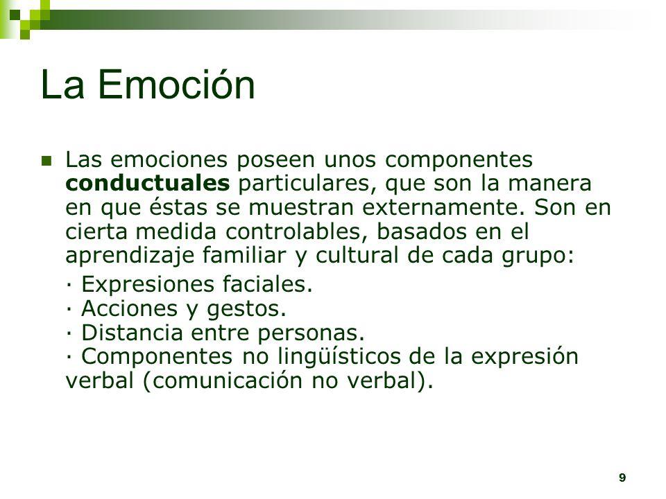 9 La Emoción Las emociones poseen unos componentes conductuales particulares, que son la manera en que éstas se muestran externamente. Son en cierta m