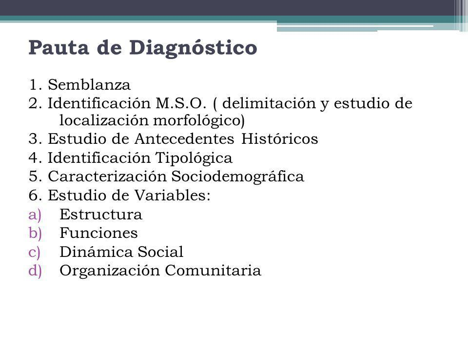 Pauta de Diagnóstico 1. Semblanza 2. Identificación M.S.O. ( delimitación y estudio de localización morfológico) 3. Estudio de Antecedentes Históricos