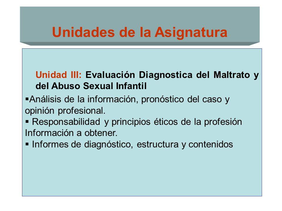 Unidades de la Asignatura Unidad III: Evaluación Diagnostica del Maltrato y del Abuso Sexual Infantil Análisis de la información, pronóstico del caso