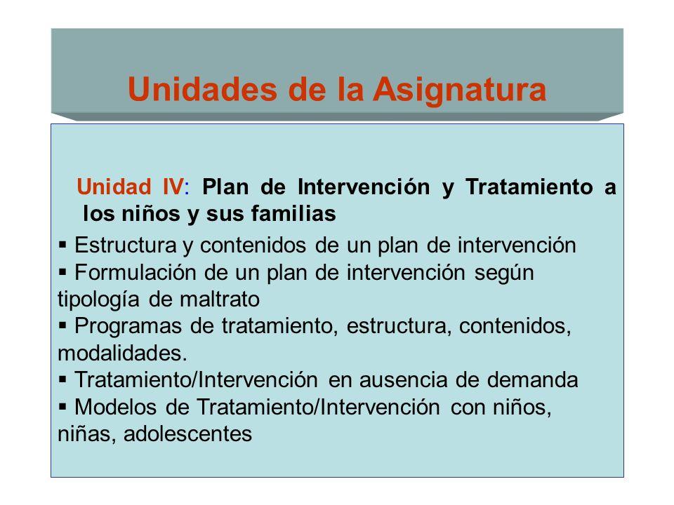 Unidades de la Asignatura Unidad IV: Plan de Intervención y Tratamiento a los niños y sus familias Estructura y contenidos de un plan de intervención
