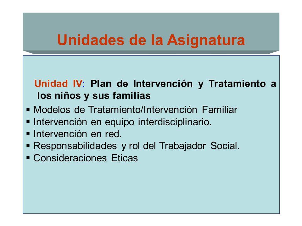 Unidades de la Asignatura Unidad IV: Plan de Intervención y Tratamiento a los niños y sus familias Modelos de Tratamiento/Intervención Familiar Interv