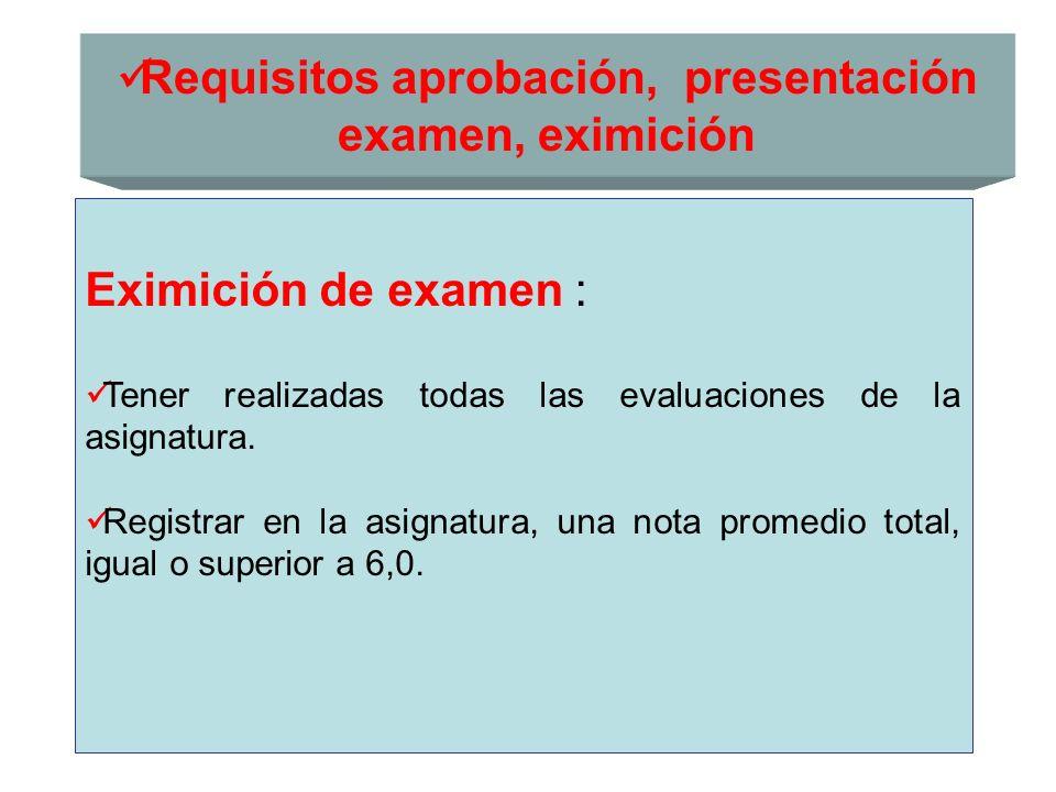 Requisitos aprobación, presentación examen, eximición Eximición de examen : Tener realizadas todas las evaluaciones de la asignatura. Registrar en la
