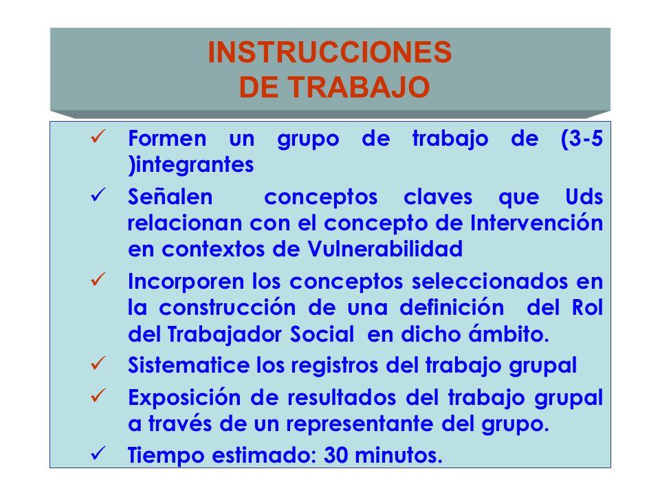 INSTRUCCIONES DE TRABAJO Formen un grupo de trabajo de (3-5 )integrantes Señalen conceptos claves que Uds relacionan con el concepto de Intervención e