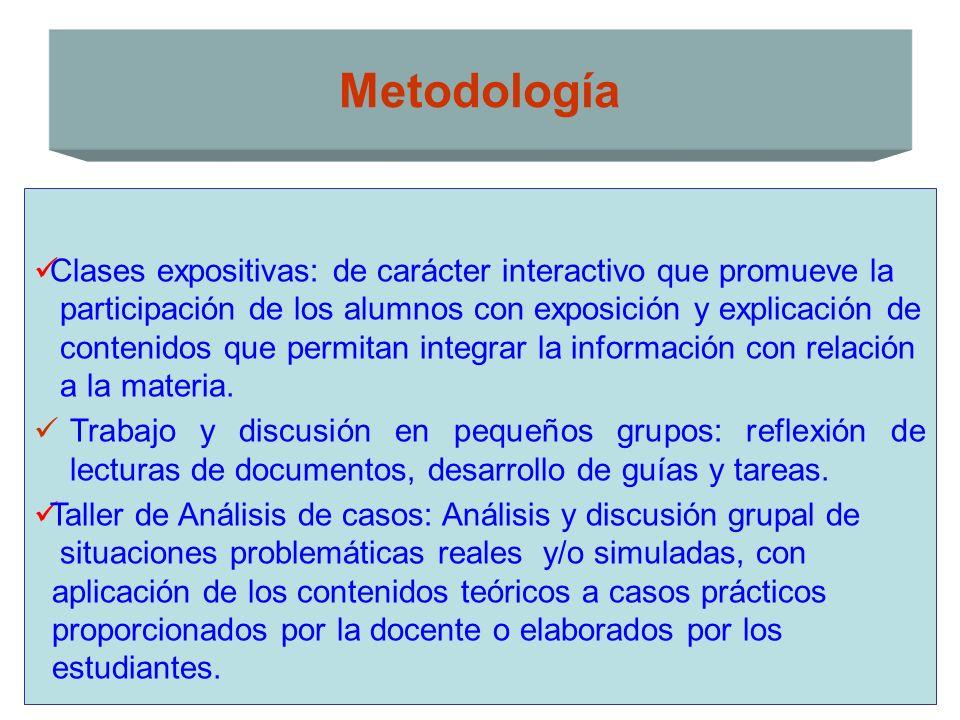 Clases expositivas: de carácter interactivo que promueve la participación de los alumnos con exposición y explicación de contenidos que permitan integ
