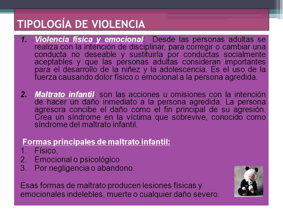 TIPOLOGÍA DE VIOLENCIA 3.Violencia sexual: se refiere a las conductas sexuales, coercitivas o no, impuestas a una persona menor de edad, por una persona mayor, que puede ser físicamente superior, con más experiencia y recursos, que utiliza incorrectamente su poder o autoridad física y emocional.