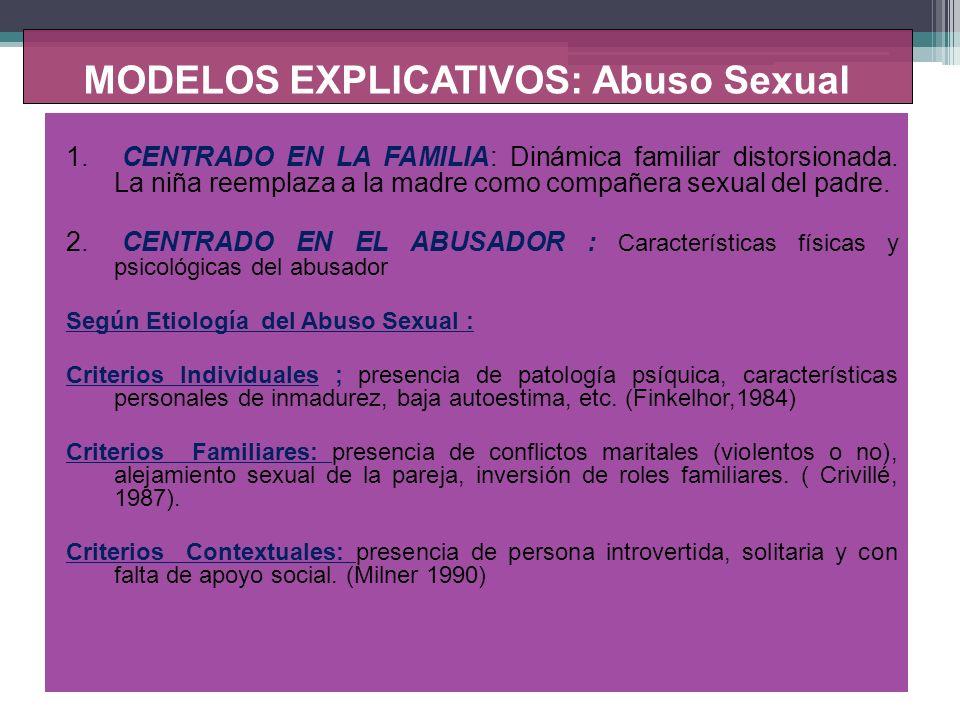 MODELOS EXPLICATIVOS: Abuso Sexual MODELO TEORICO DE FINKELHOR (1984): Responde a : Porque algunas personas se interesan sexualmente en los niños Porque el interés sexual conduce al abuso sexual de los niños.