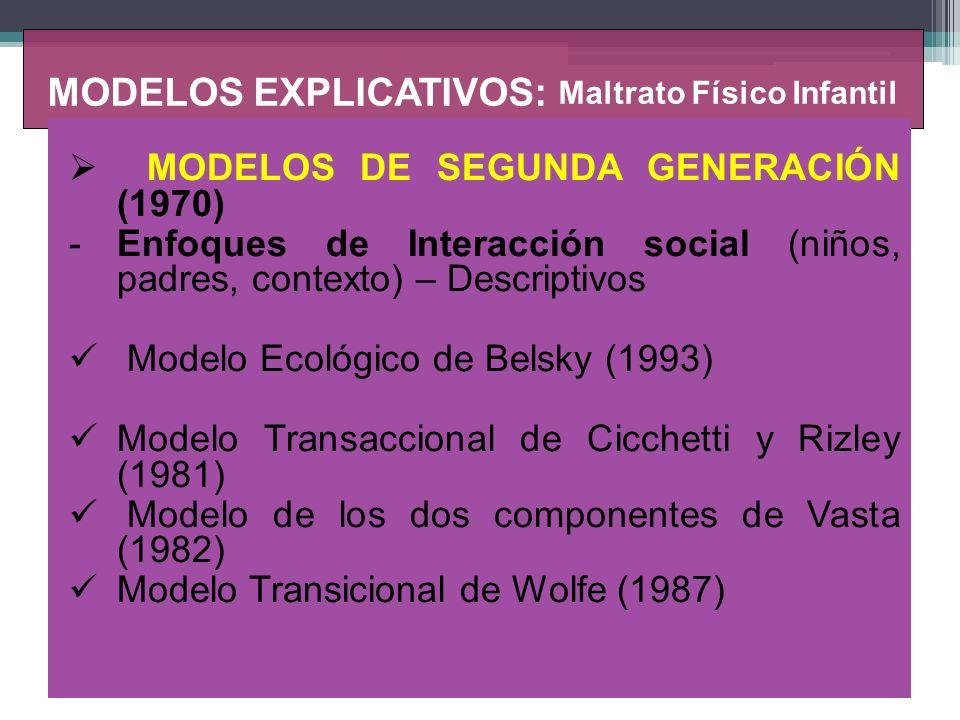 MODELOS EXPLICATIVOS: Maltrato Físico Infantil MODELOS DE TERCERA GENERACIÓN (1990) -Explicativos Teoría del procesamiento de la información social ( Milner,1985).