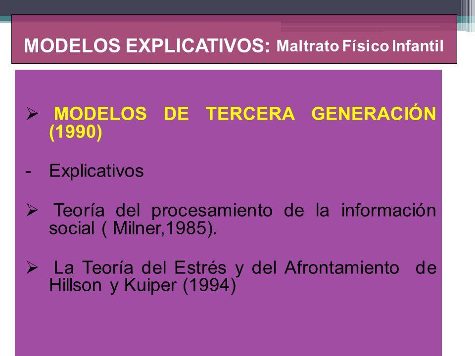 MODELOS EXPLICATIVOS: Abandono Físico o Negligencia Infantil MODELO Sociológico Teoría del procesamiento de la información social ( Milner,1985).