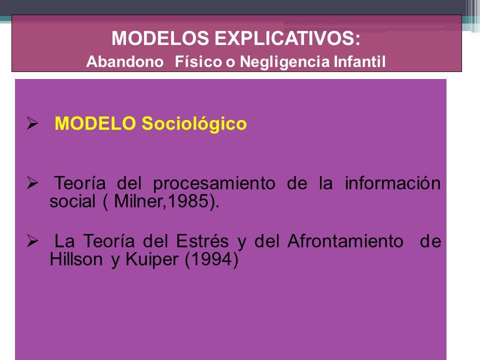 MODELOS EXPLICATIVOS: Maltrato y A bandono Emocional MODELO TEORIA DEL APEGO (Bowlby, 1983) TEORIA DEL APRENDIZAJE SOCIAL.