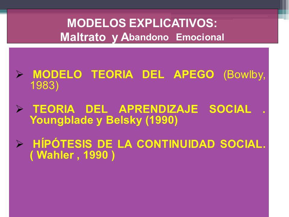 MODELOS EXPLICATIVOS: Maltrato y A bandono Emocional MODELO TEORIA DEL APEGO (Bowlby, 1983) TEORIA DEL APRENDIZAJE SOCIAL. Youngblade y Belsky (1990)