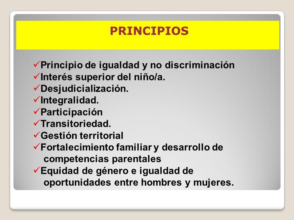 PRINCIPIOS Principio de igualdad y no discriminación Interés superior del niño/a. Desjudicialización. Integralidad. Participación Transitoriedad. Gest