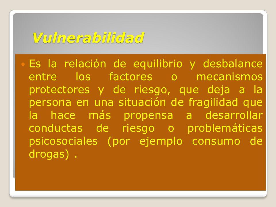 Vulnerabilidad Es la relación de equilibrio y desbalance entre los factores o mecanismos protectores y de riesgo, que deja a la persona en una situaci