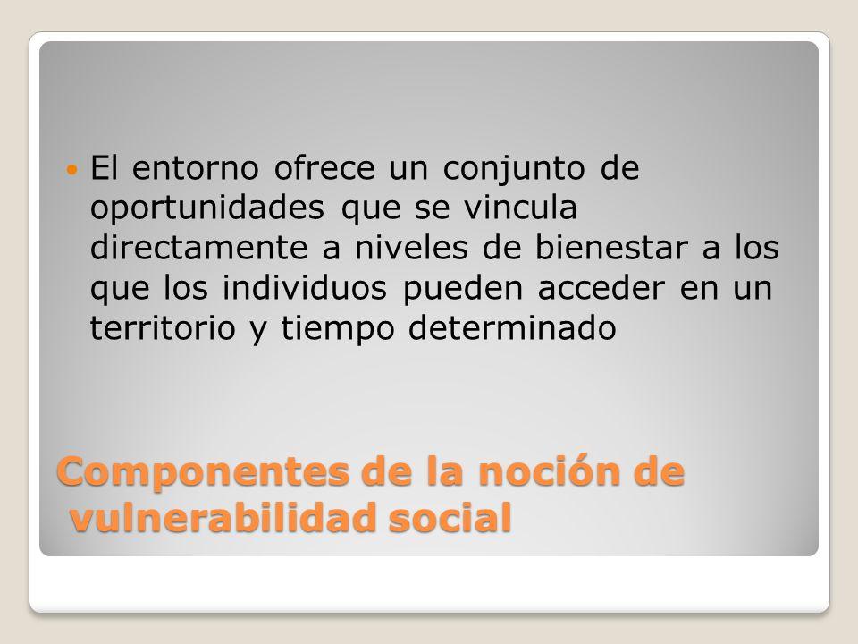 Componentes de la noción de vulnerabilidad social El entorno ofrece un conjunto de oportunidades que se vincula directamente a niveles de bienestar a