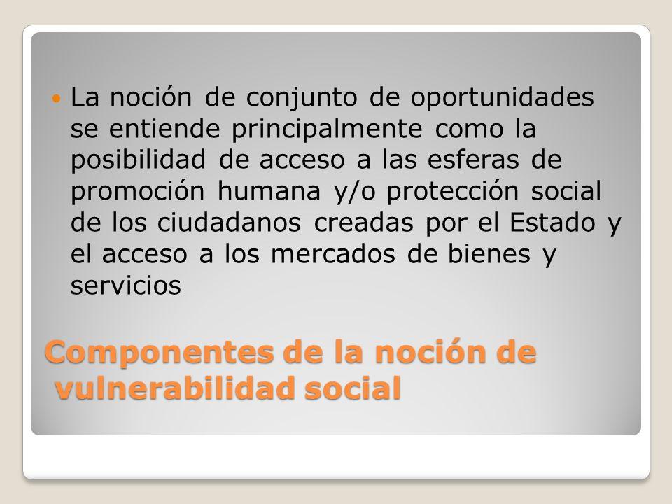 Componentes de la noción de vulnerabilidad social La noción de conjunto de oportunidades se entiende principalmente como la posibilidad de acceso a la