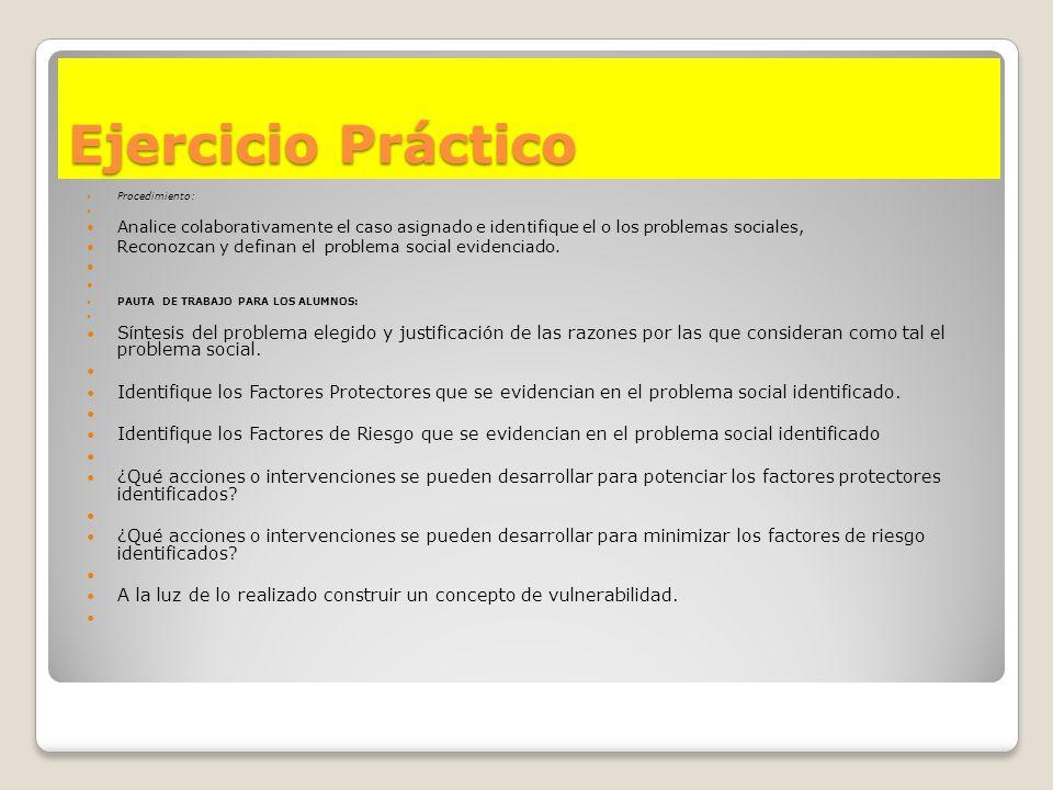 Ejercicio Práctico Procedimiento: Analice colaborativamente el caso asignado e identifique el o los problemas sociales, Reconozcan y definan el proble