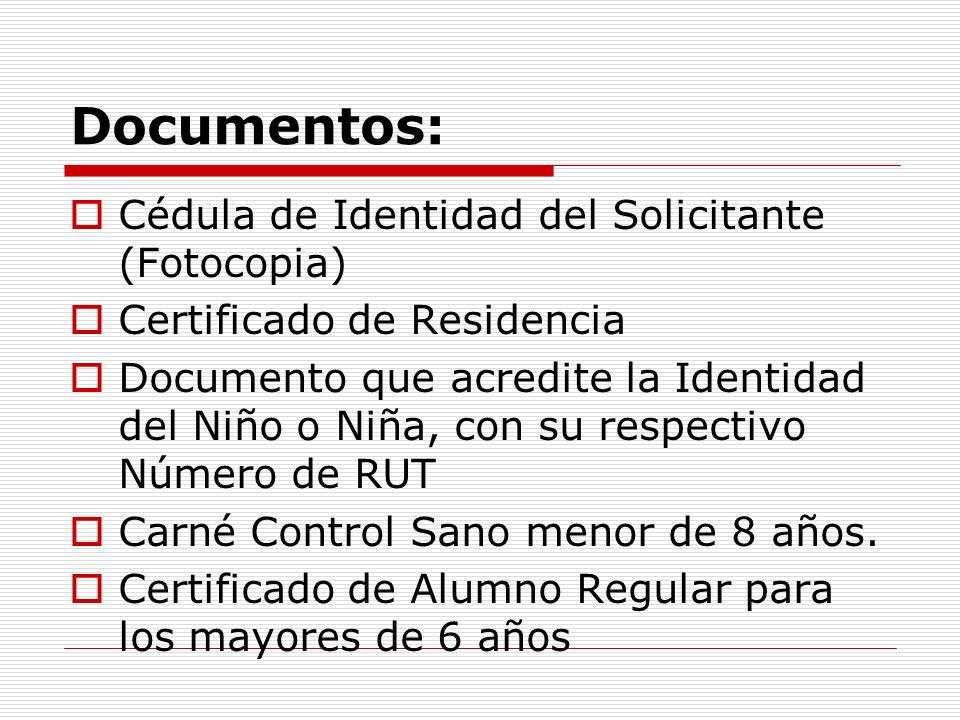 Documentos: Cédula de Identidad del Solicitante (Fotocopia) Certificado de Residencia Documento que acredite la Identidad del Niño o Niña, con su respectivo Número de RUT Carné Control Sano menor de 8 años.
