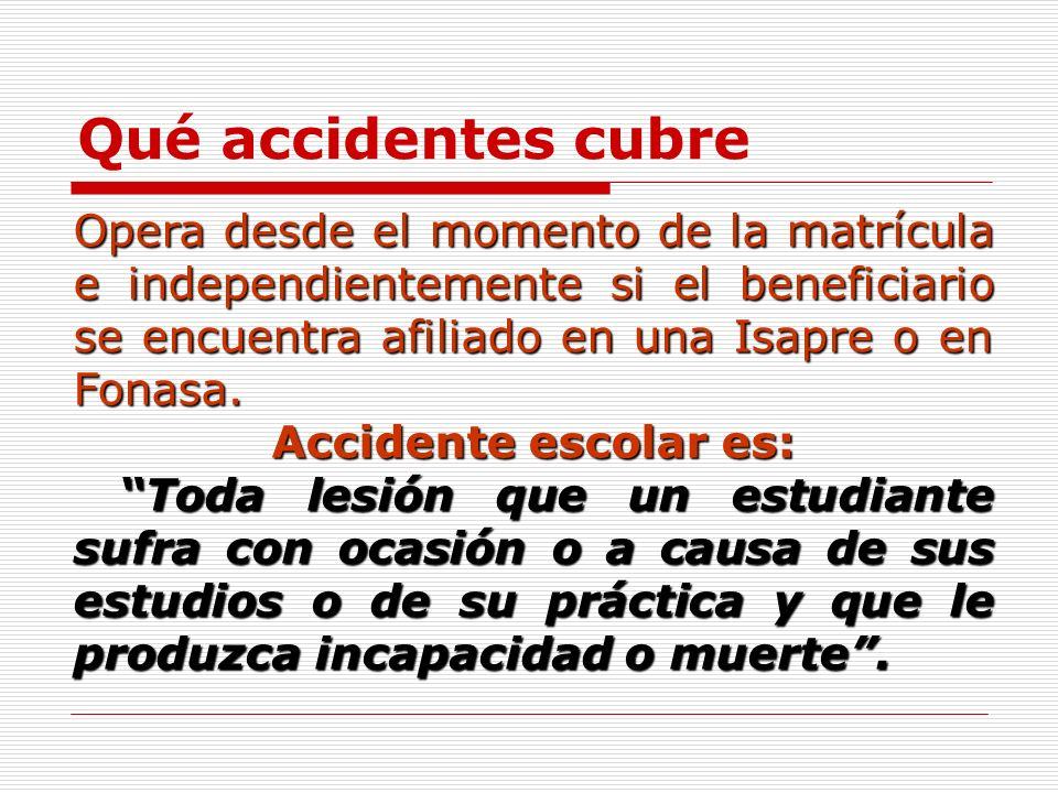 Qué accidentes cubre Opera desde el momento de la matrícula e independientemente si el beneficiario se encuentra afiliado en una Isapre o en Fonasa.