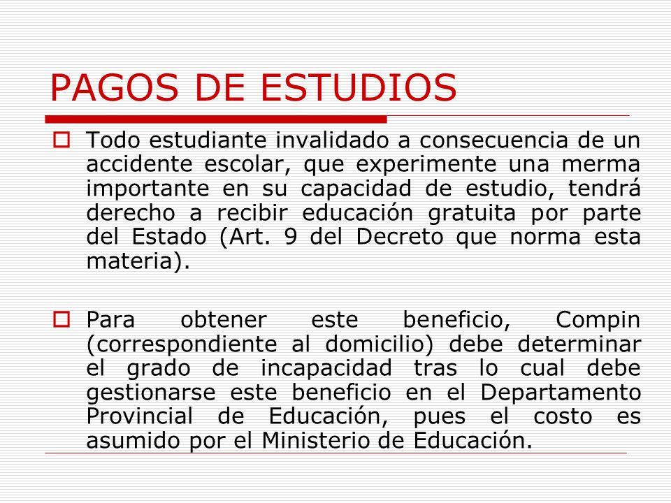 PAGOS DE ESTUDIOS Todo estudiante invalidado a consecuencia de un accidente escolar, que experimente una merma importante en su capacidad de estudio, tendrá derecho a recibir educación gratuita por parte del Estado (Art.