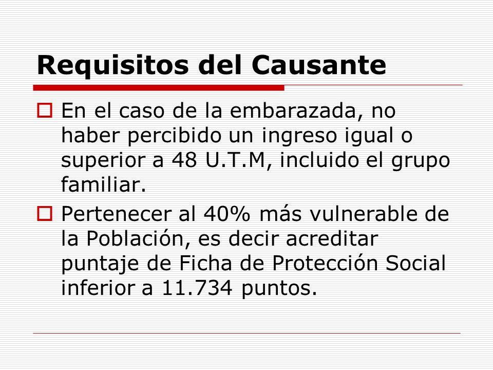 Requisitos del Causante En el caso de la embarazada, no haber percibido un ingreso igual o superior a 48 U.T.M, incluido el grupo familiar.