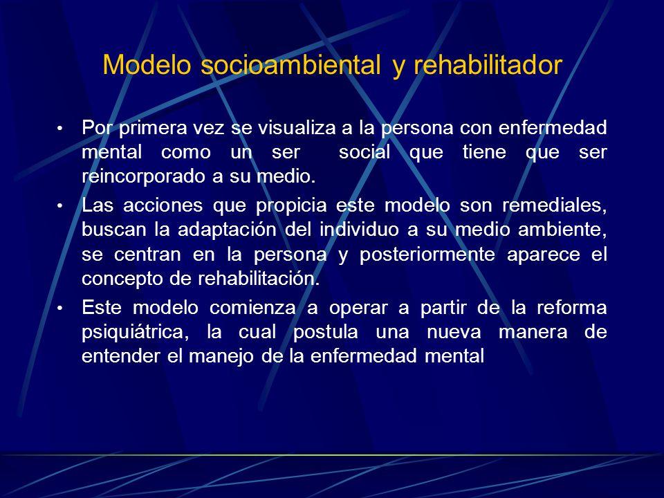 Modelo socioambiental y rehabilitador Por primera vez se visualiza a la persona con enfermedad mental como un ser social que tiene que ser reincorpora