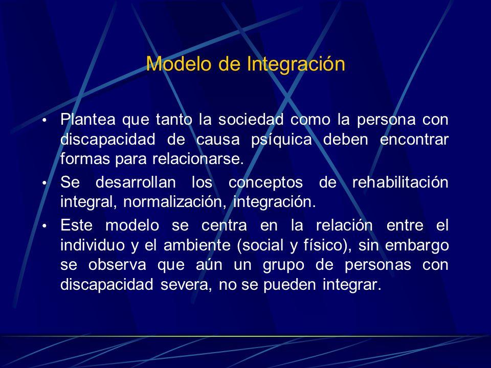 Modelo de Integración Plantea que tanto la sociedad como la persona con discapacidad de causa psíquica deben encontrar formas para relacionarse. Se de