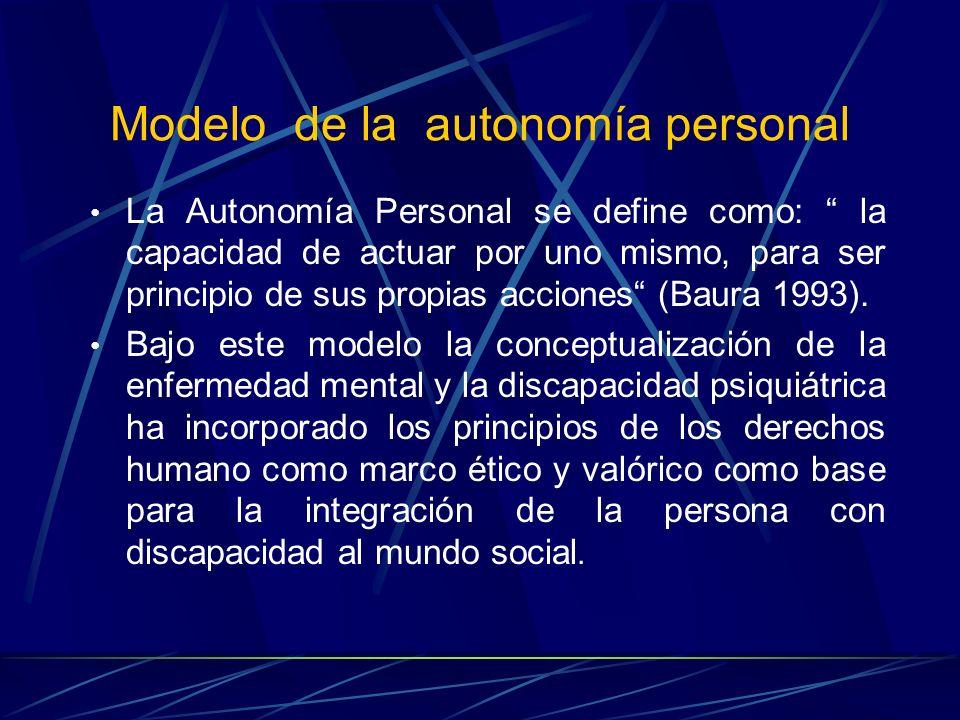 La Autonomía Personal se define como: la capacidad de actuar por uno mismo, para ser principio de sus propias acciones (Baura 1993). Bajo este modelo